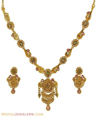 Gold Indian Antique Necklace Set ( Antique Necklace Sets )