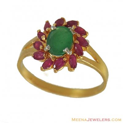 22Kt Ruby Emerald Ring ( Ladies Rings with Precious Stones )