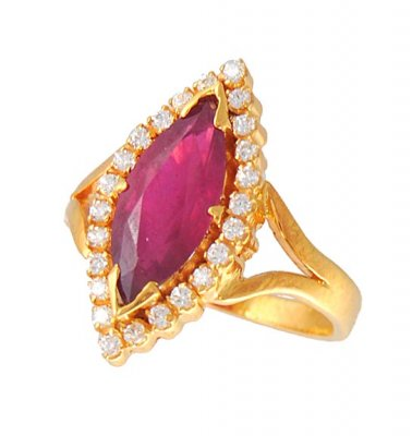 Gold Ring with Ruby and CZ ( Ladies Rings with Precious Stones )