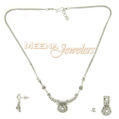 22Kt White Gold Necklace Set ( White Gold Sets )