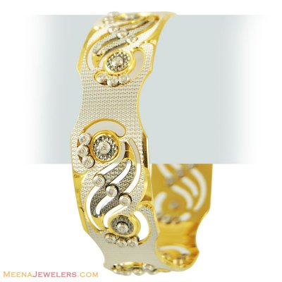 22K CZ Stones Two Tone Bangle(1 Pc) ( Two Tone Bangles )