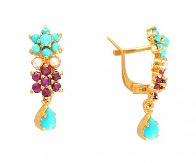 22K Precious Stone Earrings ( Precious Stone Earrings )