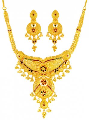 22kt Gold Meenakari Necklace Set ( 22 Kt Gold Sets )