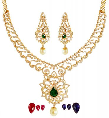 18K Gold Diamond  Necklace Set ( Diamond Necklace Sets )