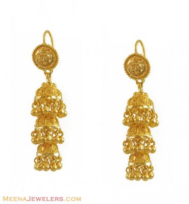 22K Layered Jhumki Earrings ( 22Kt Gold Fancy Earrings )