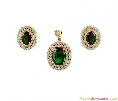 18K Diamond Emerald Pendant Set ( Diamond Pendant Sets )