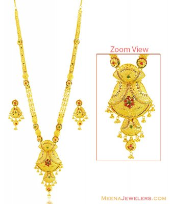 22k Fancy Bridal Meena Necklace Set ( Bridal Necklace Sets )