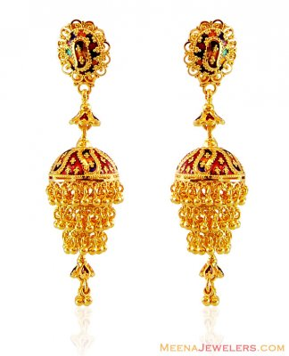Meenakari Gold Chandelier Earrings ( 22Kt Gold Fancy Earrings )