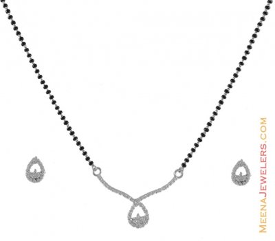 18kt White Gold Mangalsutra Set ( Gold Mangalsutra Sets )