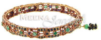22k Gold Bangles With Sapphires And Emeralds ( Precious Stone Bangles )