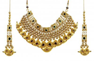 22k Traditional Antique Bridal Set ( Antique Necklace Sets )