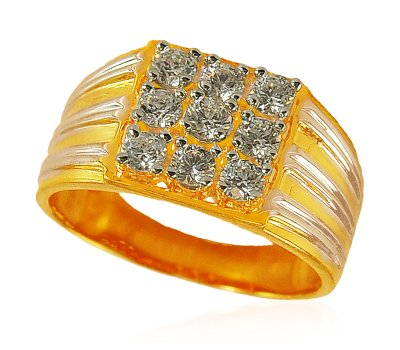 Gold CZ Mens Ring ( Mens Signity Rings )
