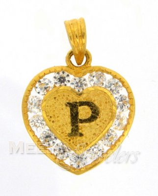 22Kt Gold Pendant with Initial(P) ( Initial Pendants )