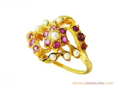 22K Pearl Ruby Stones Ring  ( Ladies Rings with Precious Stones )