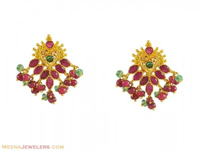 22k Indian Earrings with Precious Stones ( Precious Stone Earrings )