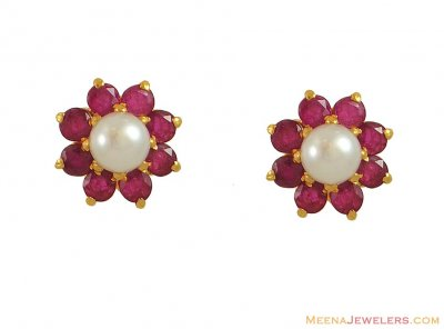 Gold Ruby Earrings with Pearl(22K) ( Precious Stone Earrings )