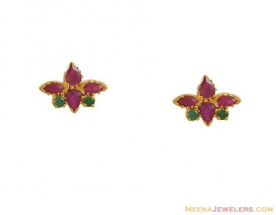 22Kt Semi Precious Earring ( Precious Stone Earrings )