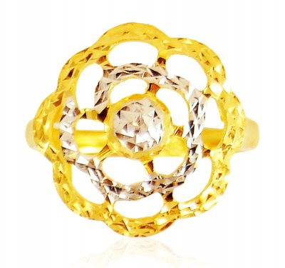 22 Karat Gold Two Tone Ring ( Ladies Gold Ring )
