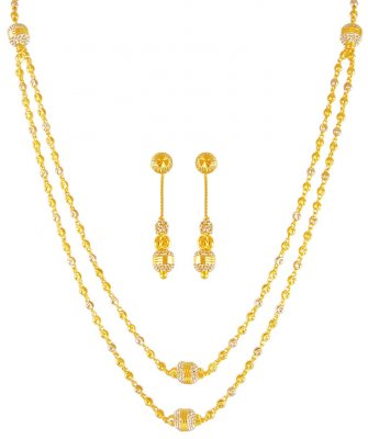 22Kt Gold Two Tone Layered Set ( Light Sets )