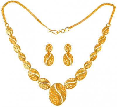 22 Karat Yellow Gold Necklace Set ( Light Sets )