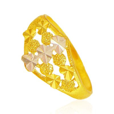 22Kt Gold Two Tone Ring ( Ladies Gold Ring )