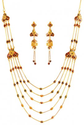 22K Exclusive Layered Necklace Set ( 22 Kt Gold Sets )