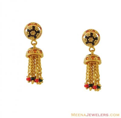 Indian Meenakari Earrings ( 22Kt Gold Fancy Earrings )