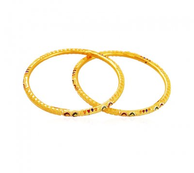 Gold Kids Meena Bangle (2 Pcs) ( Baby Bangles )