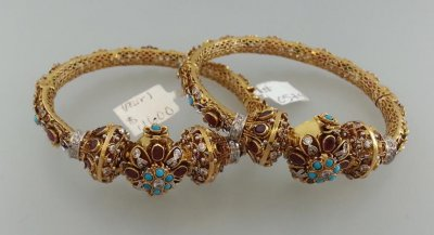 22K Beautiful Antique Kada (2PCs) ( Precious Stone Bangles )