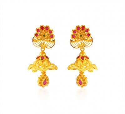 22k Gold Traditional Jhumkhi ( Long Earrings )