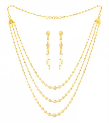 22k Gold Three Layered Fancy Set ( 22 Kt Gold Sets )