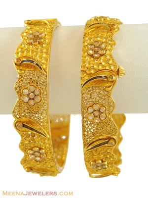 22k Designer Antique Bangles (2 pcs) ( Antique Bangles )