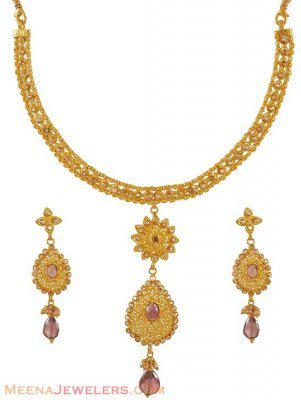 Antique Necklace Set (22k gold) ( Antique Necklace Sets )