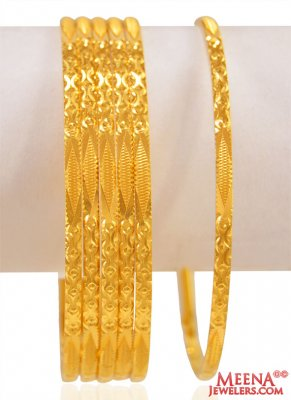 22 Karat Gold Bangles (6 PC) ( Set of Bangles )