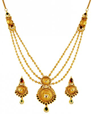 22kt Gold Layered kundan Set ( Antique Necklace Sets )