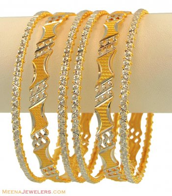 22K Rhodium Bangles Set(6 Pcs) ( Two Tone Bangles )