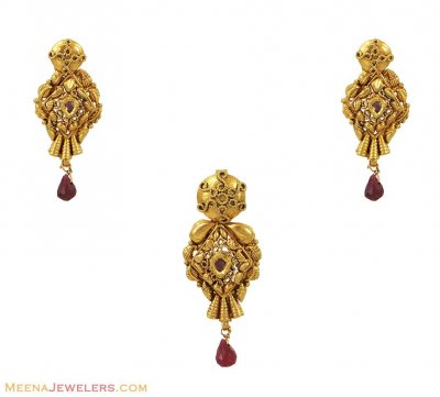 Antique Finished Pendant Set (22K) ( Antique Pendant Sets )