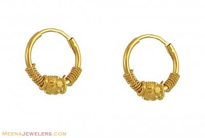 21k Yellow Gold Designer Baby Hoops Earrings In Dull Finish