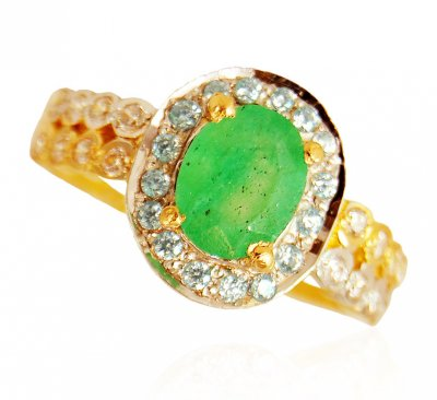 22KT Gold Emerald Ring ( Ladies Rings with Precious Stones )