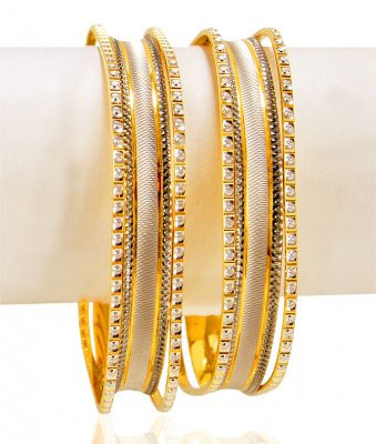 22k Gold  Rhodium Square Bangles  ( Two Tone Bangles )