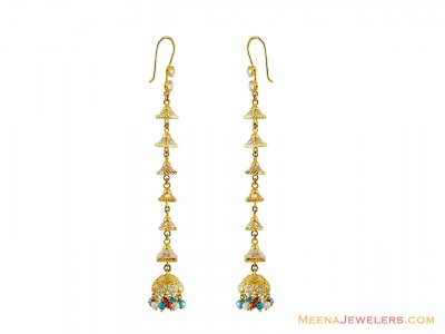 22K Gold CZ Long Earrings  ( Exquisite Earrings )