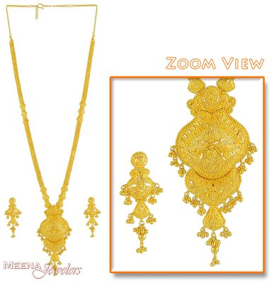22Kt Gold Long Necklace and Earrings Set ( Bridal Necklace Sets )