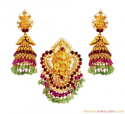 22K Gold Laxmi Pendant Set ( Antique Pendant Sets )