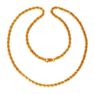 22 Karat Gold Rope Chain (24 Inch) ( Men`s Gold Chains )