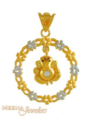 22k Ganesh Pendant with Signity ( Ganesh, Laxmi and other God Pendants )
