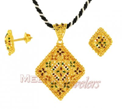 MeenaKari Pendant and Earrings Set ( Gold Pendant Sets )