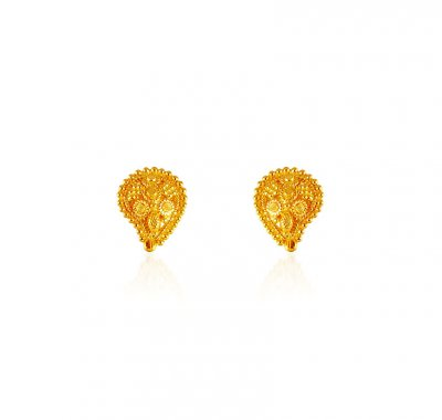 22KT Gold Tops Earrings ( 22 Kt Gold Tops )