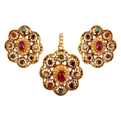 22K Gold Stones Pendant Set ( Antique Pendant Sets )
