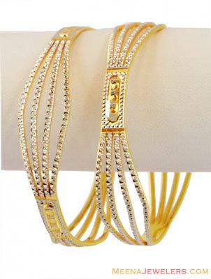 22k Fancy Rhodium Bangles(1 Pc ONLY) ( Two Tone Bangles )