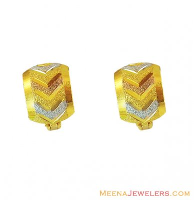 Fancy 3 Tone ClipOn Earrings 22K ( Clip On Earrings )